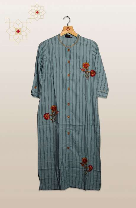 Women Pastel Blue Cotton Kurtis - R104-75620A