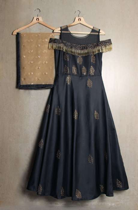 Readymade Dark Grey Off Shoulder Gown with Swarovski & Sippy Work In Silk - R124-3284G