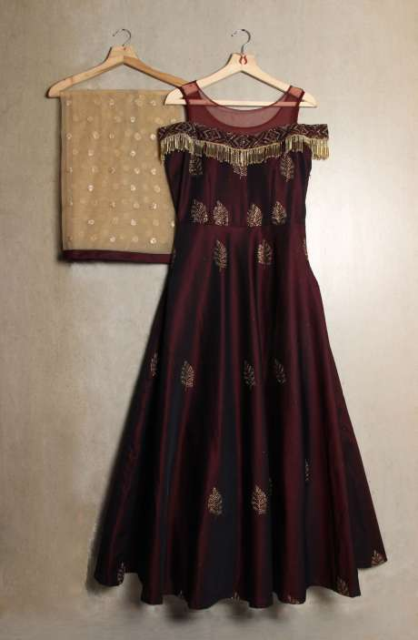Readymade Maroon Off Shoulder Gown with Swarovski & Sippy Work In Silk - R124-3284M