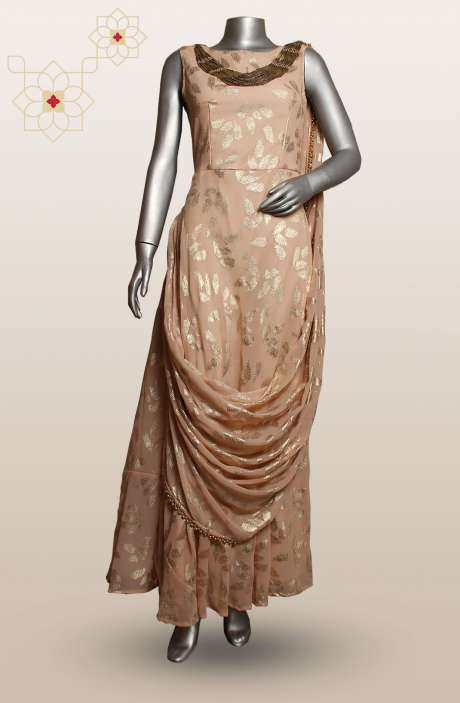 Designer Georgette Sleeveless Floor Length Peach Gown - R124-3323A