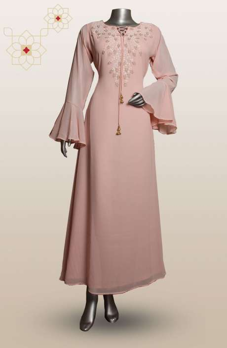 Trendy Georgette Readymade Long Bell Sleeves Kurti In Peach - R124-3405A