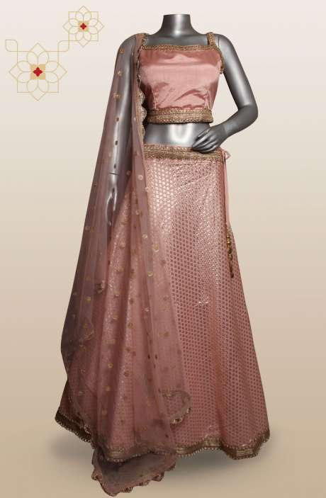Designer Peach Chanderi Silk Stitched Lehenga Choli with Net Dupatta - R124-3447