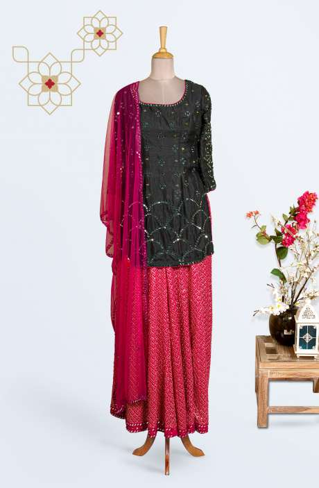 Silk Partywear Stitched Palazzo Suit In Bottle Green - R130-D512