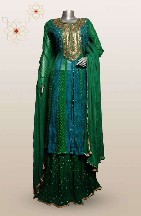 Readymade Stylish Georgette Dark Green A-line Kurta with Skirt Set - R150-G01