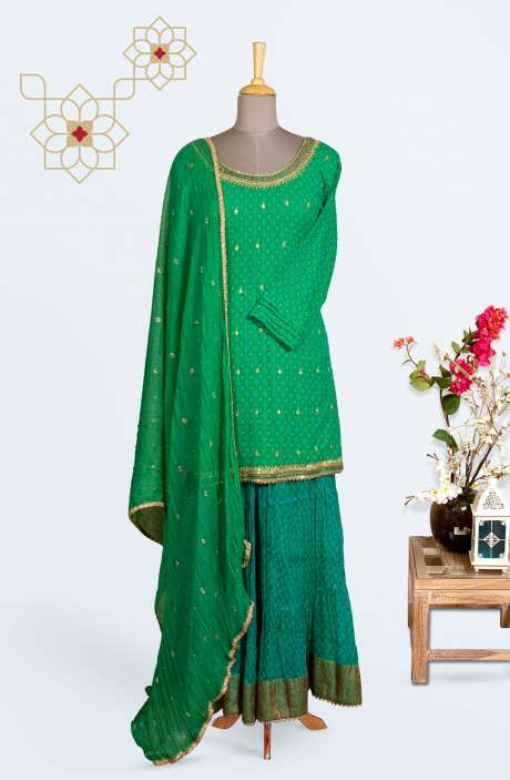 Designer Partywear Stitched Chiffon Palazzo Suit In Green - R150-G64A