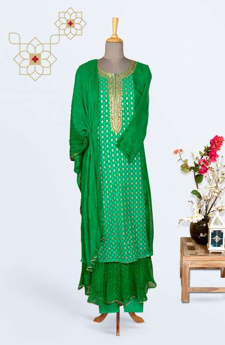 Designer Chiffon Partywear Stitched Palazzo Suit In Green - R150-M06