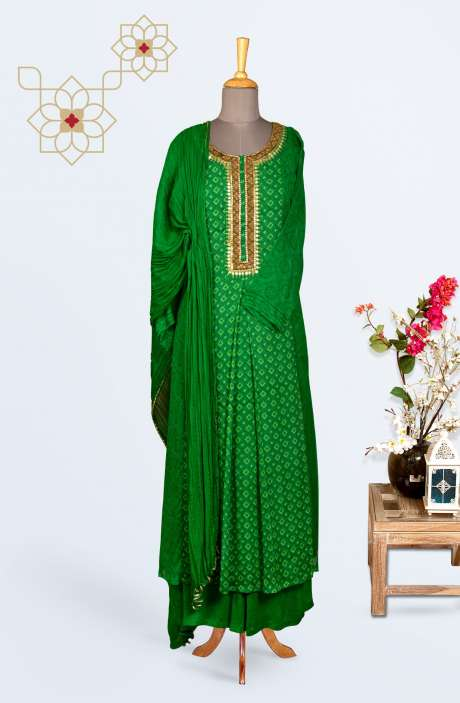 Designer Chiffon Partywear Stitched Palazzo Suit In Bottle Green - R150-M09