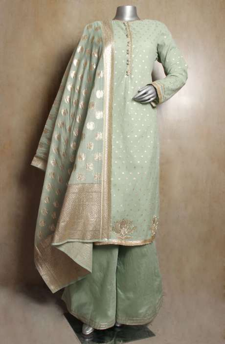 Designer Green Chanderi Jacquard Readymade Kameez with Palazzo Pants & Dupatta - R154-1999