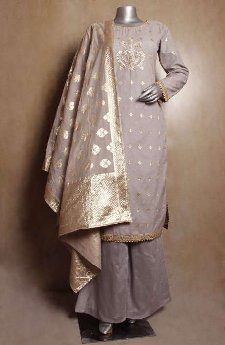 Partywear Grey Chanderi Jacquard Emebellished Readymade Kameez with Palazzo Pants & Dupatta - R154-2037