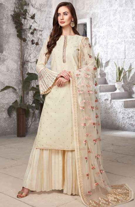 Designer Cream Chanderi Jacquard Readymade Palazzo Suit Sets with Bell Sleeve - R154-2095