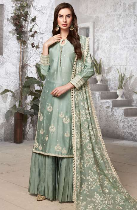 Designer Green Stitched Zari & Thread Work A-line Kameez with Sharara & Dupatta - R154-2103