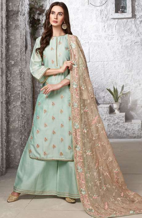Gift for Her Readymade Cotton Silk Sea Green Embellished Work Palazzo Suit Sets - R154-2107