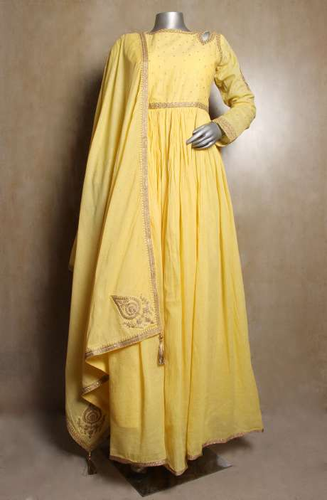 Designer Yellow Handloom Cotton Readymade Zari & Gota Work Anarkali Gown with Leggings - R154-2109