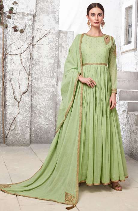Beautiful Lime Green Handloom Cotton Readymade Zari & Gota Work Anarkali Gown with Leggings - R154-2109A
