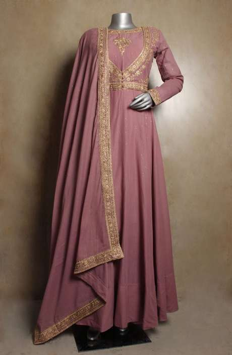 Partywear Mauve Handloom Cotton Stitched Zari & Sequins Work Anarkali Gown with Leggings - R154-2110
