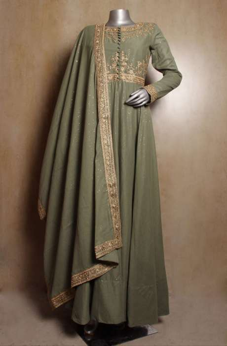 Partywear Mehndi Green Handloom Cotton Zari & Sequins Work Stitched Anarkali Suit with Leggings - R154-2110A