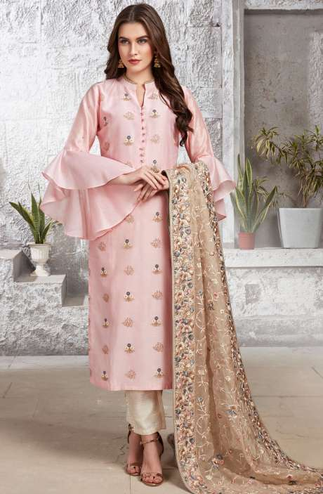 Online Gift for Sister Readymade Beautiful Pink Chanderi Cotton Bell-Sleeve Salwar Kameez Pants - R154-2116