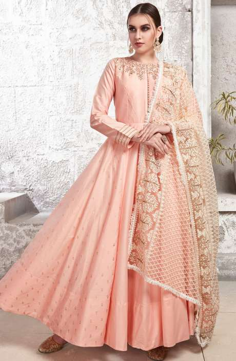 Designer Peach Chanderi Cotton Readymade Anarkali Gown with Churidar Pants - R154-2120