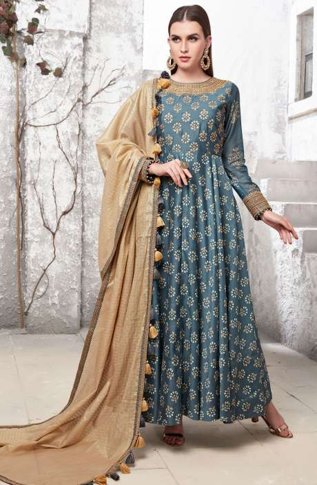 Stunning Grey Readymade Printed with Zari Work Anarkali Suit - R154-2140