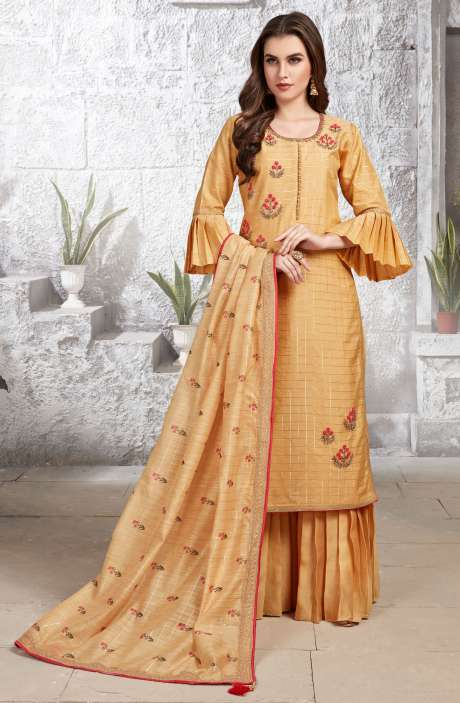 Gift for Her Readymade Chanderi Mustard Yellow Bell Sleeve Embellished Kurta with Sharara Dupatta Sets - R154-2144A