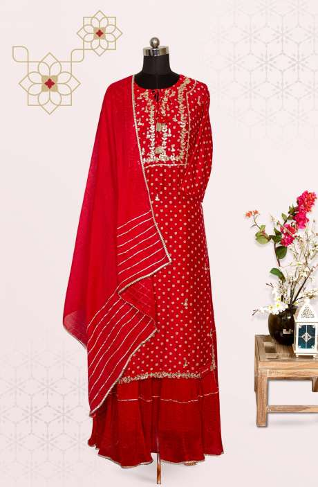 Red Modal Cotton Designer Gota Patti Work Stitched Suit with Skirt and Dupatta - R155-61502A