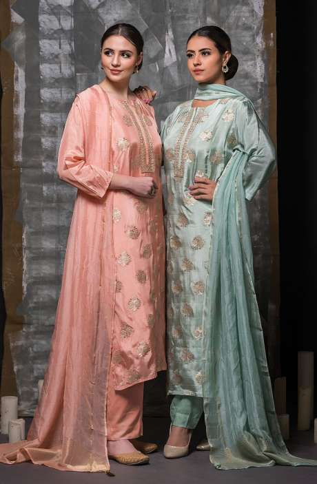 Semi-stitched Sea Green Designer Cotton Satin Suit Set with Organza Dupatta - R157-SPR662A