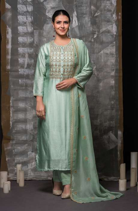 Semi-stitched Sea Green Designer Modal Cotton Suit Set with Organza Dupatta - R157-666