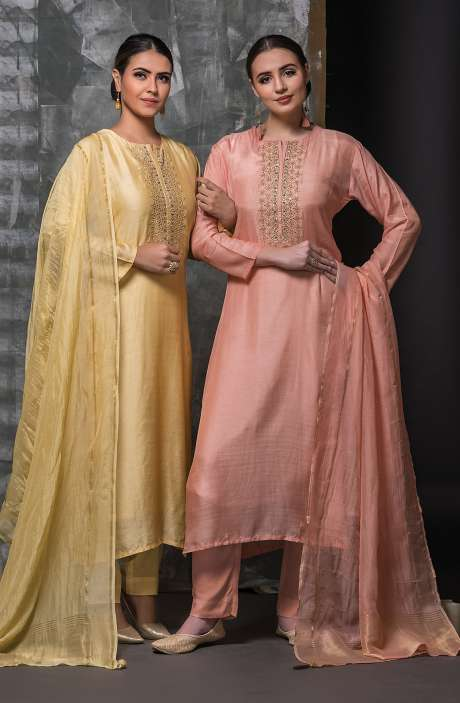 Semi-stitched Yellow Designer Modal Cotton Suit Set with Organza Dupatta - R157-671A
