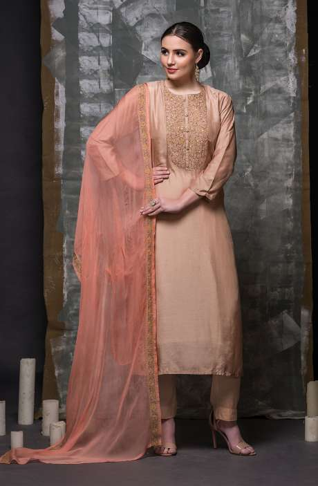Semi-stitched Beige Designer Modal Cotton Suit Set with Organza Dupatta - R157-674
