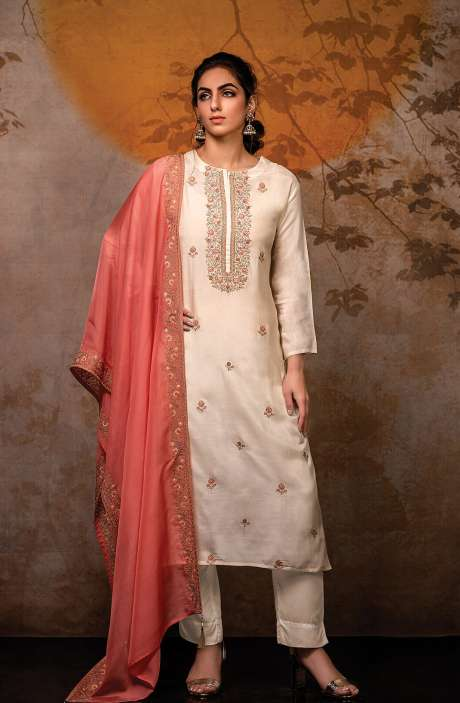 Semi-stitched Exclusive Designer Modal Cotton Salwar Suit Set In Cream - R157-K2-SS