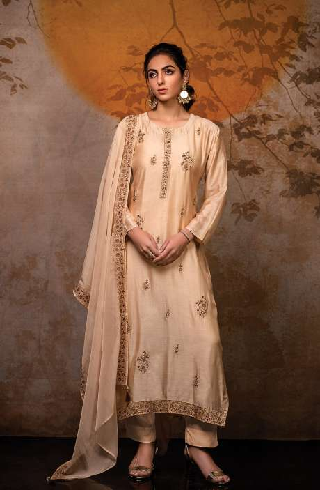 Semi-stitched Exclusive Designer Modal Cotton Salwar Suit Set In Beige with Digital Printed Dupatta - R157-K3-SS