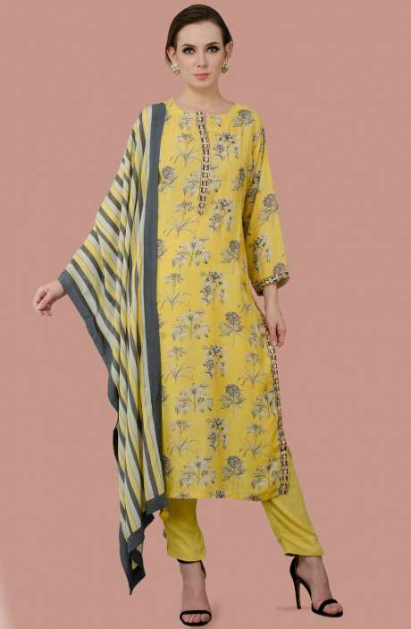 Exclusive Ready-to-Wear Digital Print with Gota Patti Work Modal Cotton Salwar Suit Sets In Yellow - R157-SPR192