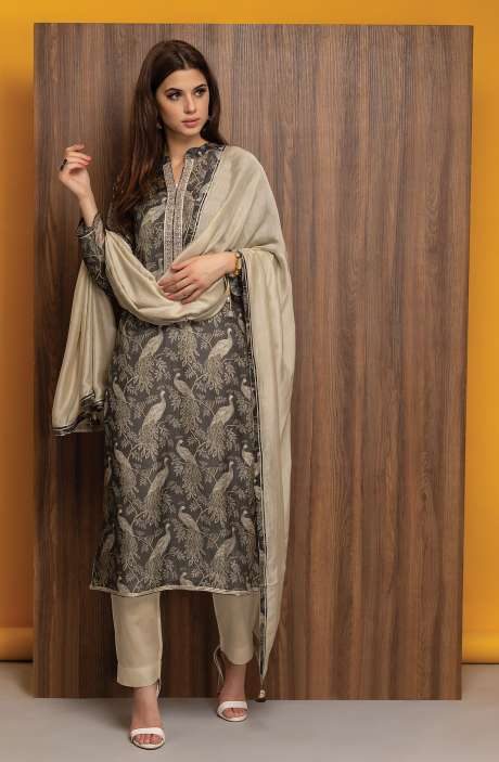Semi-stitched Modal Cotton Digital Printed Salwar Kameez with Embroidery In Multicolor - R157-SPR400