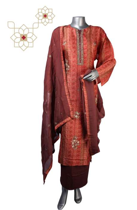Raw Silk Semi-stitched Salwar Kameez In Multi & Maroon - R157-SPR4649B