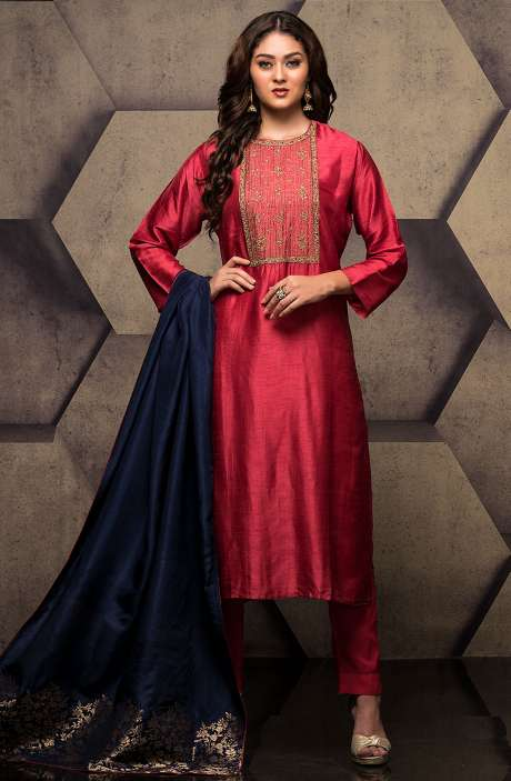 Silk Semi-stitched Rose Red Salwar Kameez with Zari Weaving Dupatta - R157-SPR512A-R