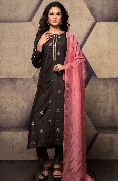 Silk Semi-stitched Weaving Jacquard Black Salwar Kameez with Zardosi & Cutdana Work - R157-SPR521-R