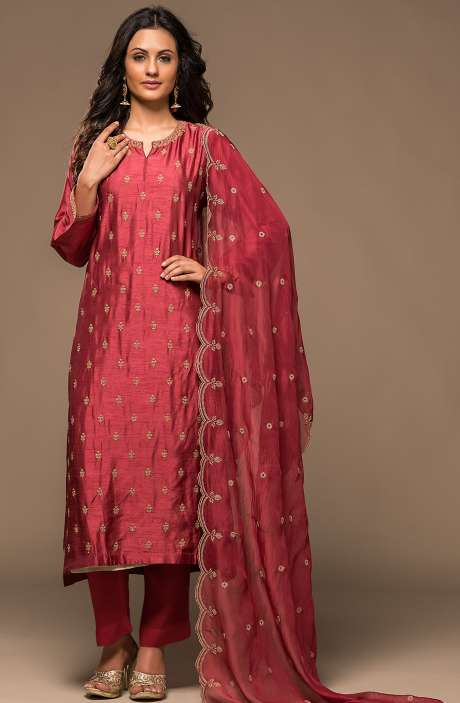 Russian Silk Semi-stitched Zari & Cutdana Work Salwar Kameez In Rose Red - R157-SPR522-R