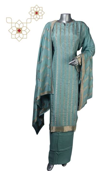 Semi-stitched Silk Zari Jacquard Exclusive Salwar Kameez in Sea Green - R157-SPR525A