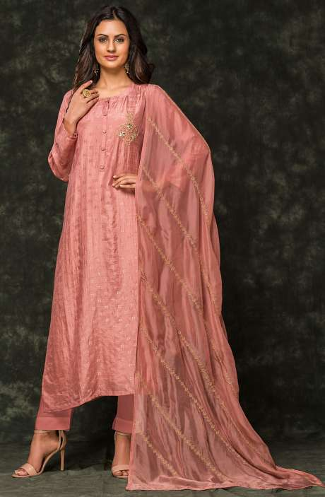 Cotton Silk Semi-stitched Zari Weaving Jacquard Salwar Kameez In Pink - R157-SPR540R