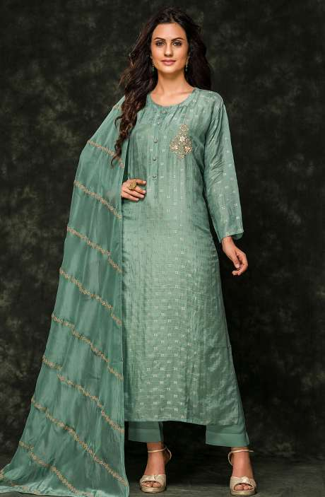 Cotton Silk Semi-stitched Zari Weaving Jacquard Salwar Kameez In Sea Green - R157-SPR540A-R
