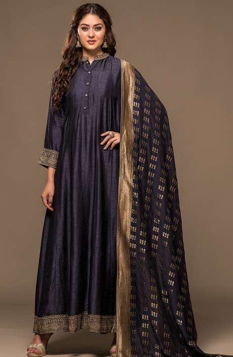 Blue Designer Raw Silk Zari Work Readymade Anarkali Suit - R157-SPR542