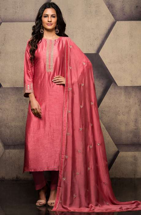Designer Silk Semi-stitched Pink Exclusive Salwar Kameez with Dupatta - R157-SPR552