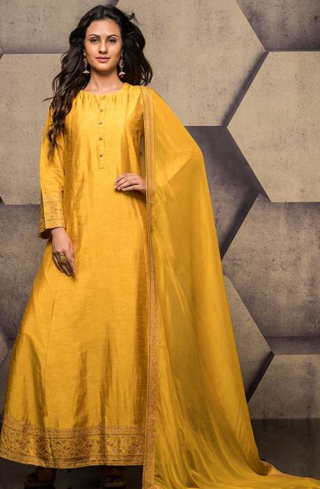 Yellow Designer Raw Silk Zari Work Readymade Anarkali Suit - R157-SPR555B