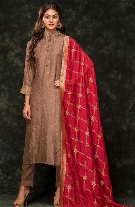 Festive Special Brown Semi-stitched Cotton Silk Jacquard Zari & Cutdana Work Salwar Suit - R157-SPR557