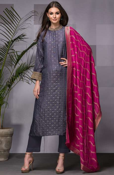Designer Silk Semi-stitched Grey Exclusive Salwar Kameez with Banarasi Dupatta - R157-SPR557A