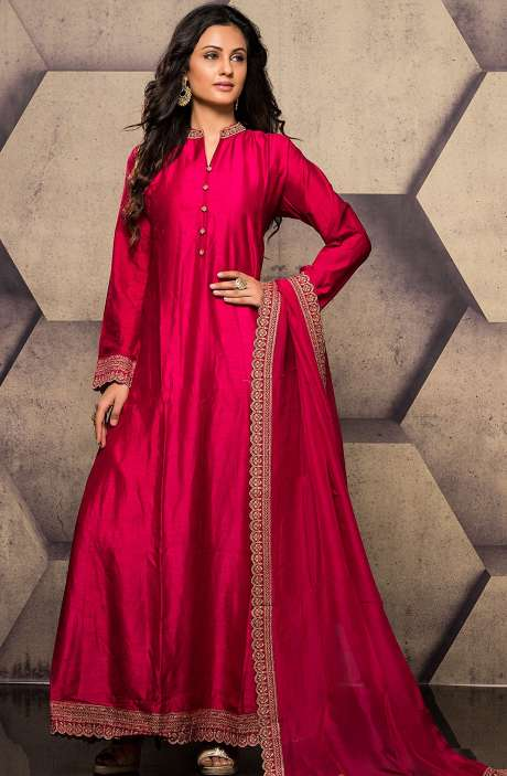 Magenta Designer Raw Silk Zari Work Readymade Anarkali Suit - R157-SPR558