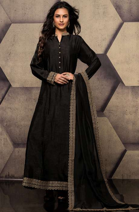 Black Designer Raw Silk Zari Work Readymade Anarkali Suit - R157-SPR558B