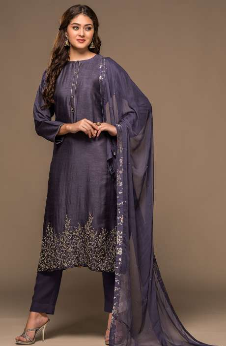 Russian Silk Navy Blue Semi-stitched Salwar Kameez with Embellished Work - R157-SPR560-R