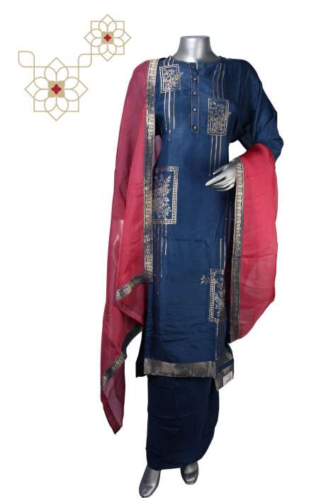 Semi-stitched Modal Cotton Exclusive Salwar Kameez in Blue - R157-SPR607