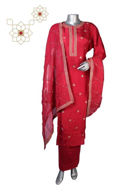 Semi-stitched Silk Zari Work Beautiful Salwar Kameez in Rose Red - R157-SPR612
